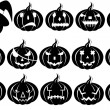 Halloween pumpkins silhouette — Stock Vector
