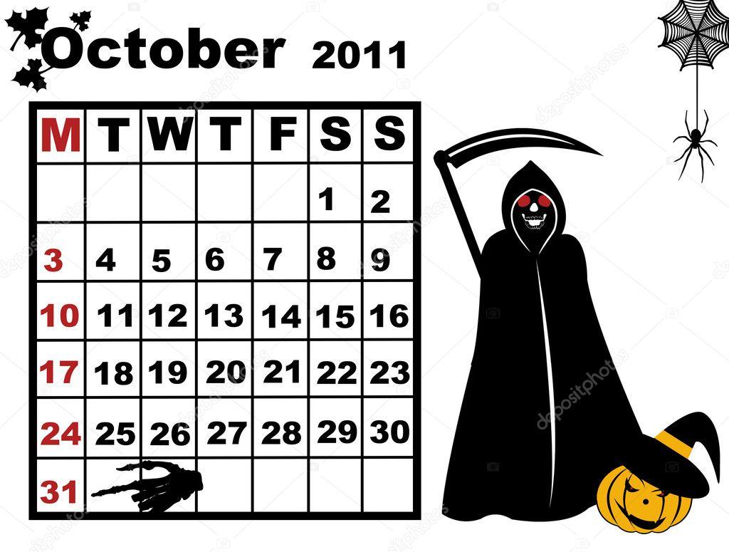 October Calendar Illustration : October calendar — stock vector dece