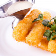 Mozzarella fried with mayonnaise — Stock Photo