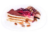 Tres pedazos de tortas — Foto de Stock