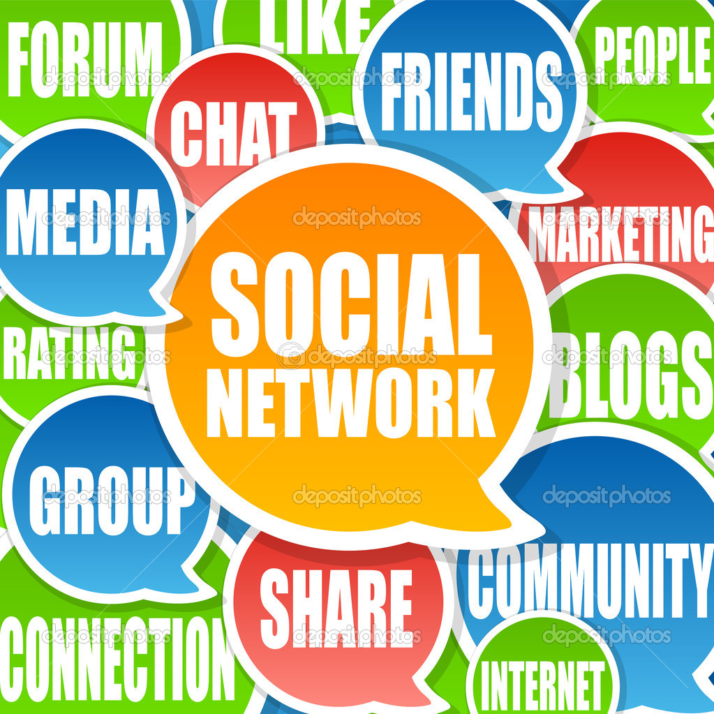 Social Media Network Background in chat bubbles  Stock Photo #5535872
