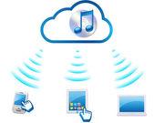Udział muzyki poprzez chmury informatyka — Zdjęcie stockowe