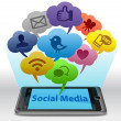 social media on smartphone — Stock Photo