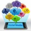 Stock Photo: social media on smartphone