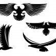 Stock Vector: Heraldry eagle symbols and tattoo