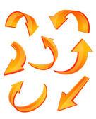 Glanzende oranje pijlpictogrammen — Stockvector