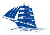 Brigantine ship — Stock Vector