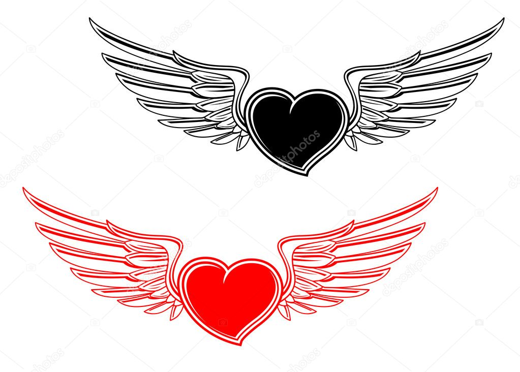 Retro heart with wings for tattoo design — Stock Vector #5535398