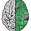 Brain and motherboard - Stock Vector