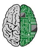 Hersenen en moederbord — Stockvector
