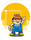 Funny smiling builder — Stock Vector