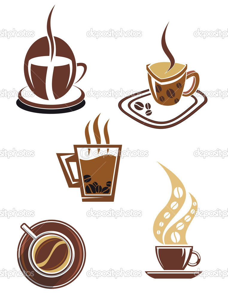 Coffee and tea symbols and icons for food design — Stock Vector #5630847