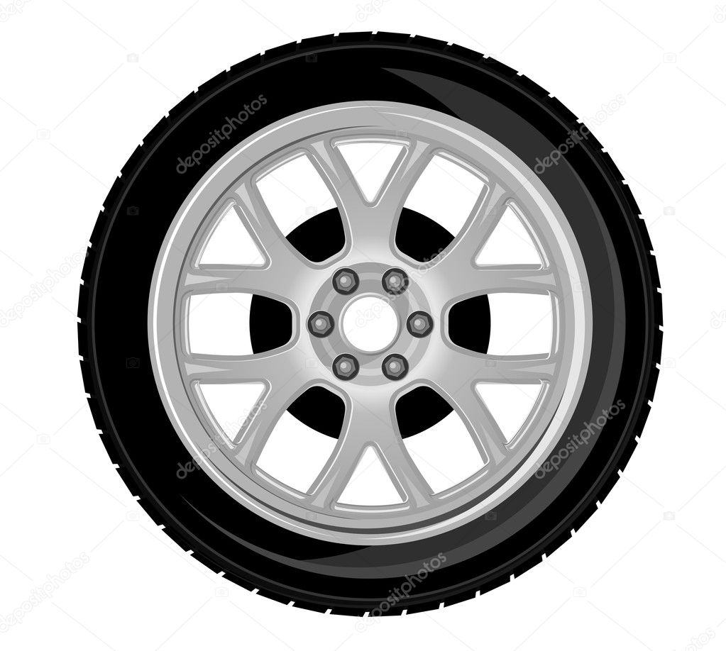 Wheel and tire for transport or service design — Stock Vector #5630875