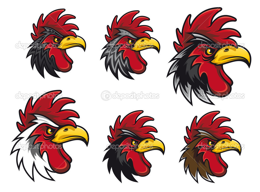 Cartoon cock heads set for mascot or another design — Stock Vector #5630888