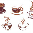 Coffee and tea symbols and icons — Stock Vector #5684750
