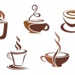 Coffee and tea symbols and icons — Stock Vector #5684751
