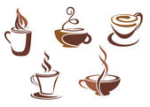 Coffee and tea symbols and icons — Stock Vector