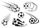 Football and soccer symbols and mascots — Stock Vector