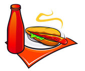 Appetizing hotdog with ketchup — Stock Vector