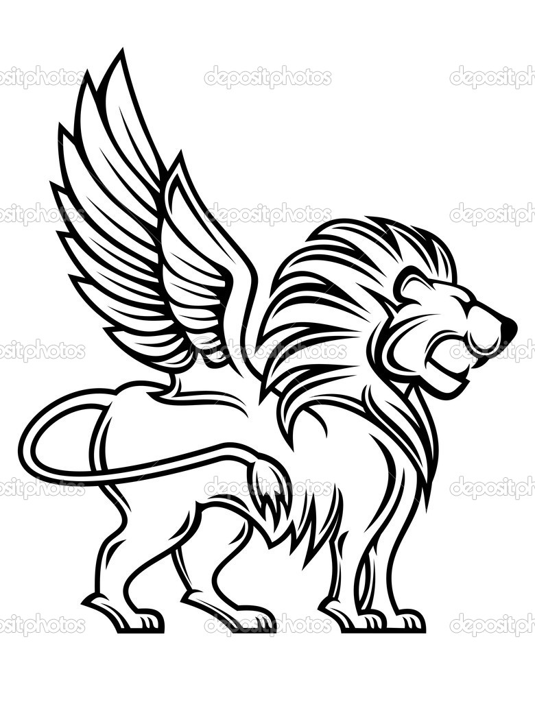 Isolated lion with wings for heraldry design  Stock Vector #5800992