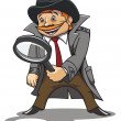 Detective with magnifying glass - Stok Vektör