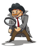 Detective with magnifying glass — Stock Vector