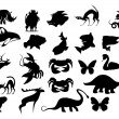 Stock Vector: Animals cartoon silhouettes