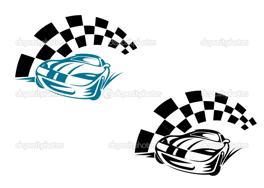 Racing cars and symbols for sports or tattoo design — Stock Vector #5899014