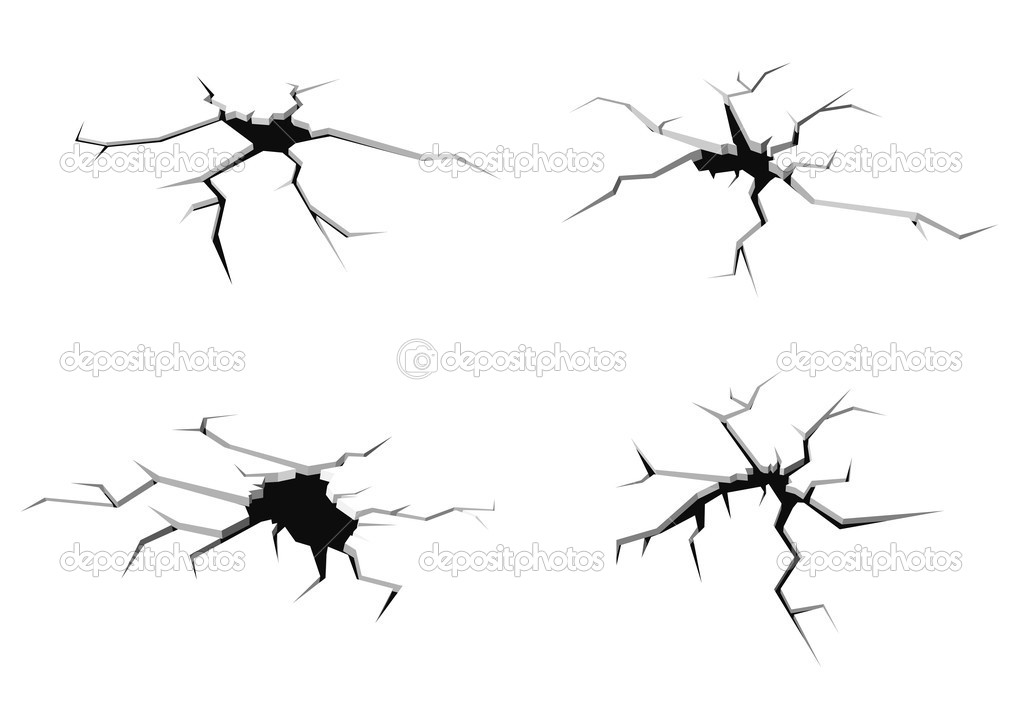 Set of cracks in ground isolated on white background for crash design  Stock Vector #5899023