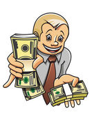 Businessman with money — Stock Vector
