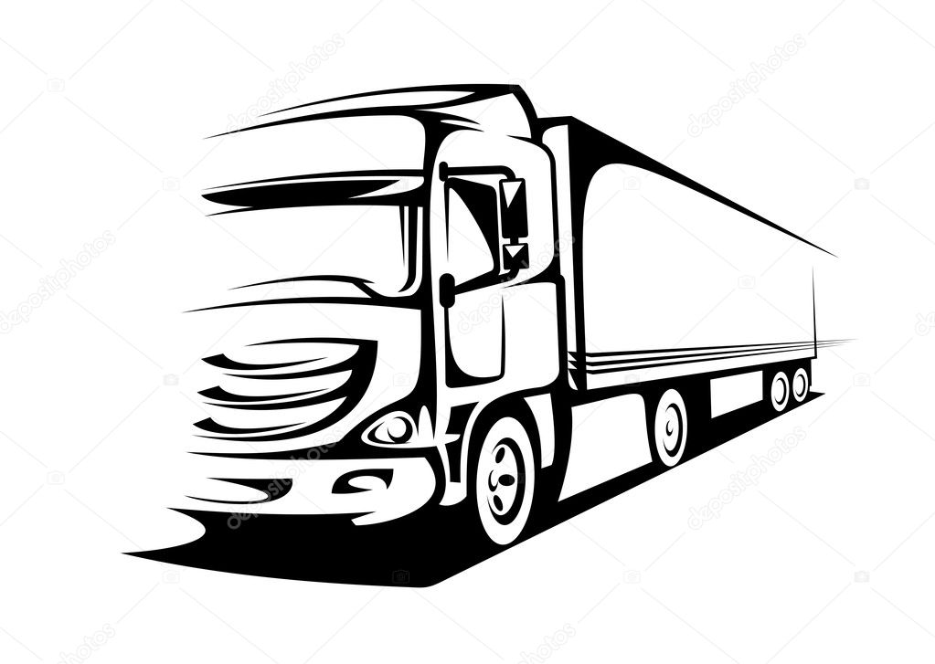 Delivery truck on silhouette style for transportation design — Stock Vector #6066582
