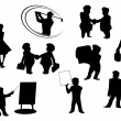 Set of cartoon silhouettes — Stock Vector