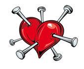 Coeur avec clous — Vecteur