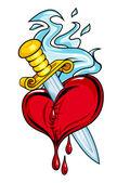 Coeur avec épée — Vecteur