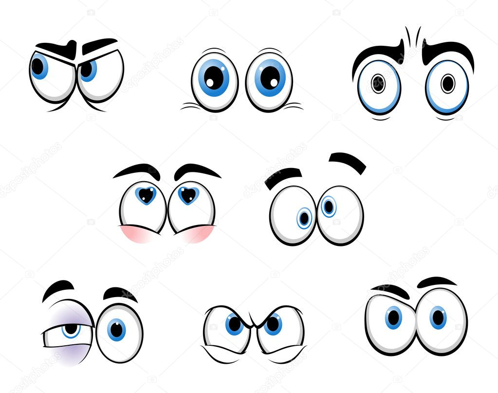 Set of cartoon funny eyes for comics design  Stock Vector #6313188