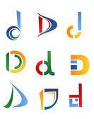Letter D symbols — Stock Vector