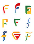 Letter F symbols — Stock Vector