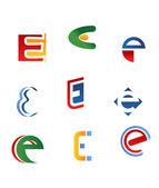 Letter E symbols — Stock Vector