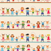 Jongens en meisjes naadloze patroon — Stockvector