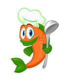 Cartoon cook fish — Stock Vector