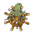 Stockvector : Octopus on steering wheel