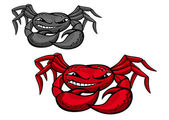 Red angry crab with claws — Stock Vector