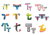 Symbols of letter T — Stock Vector
