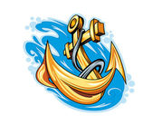 Anchor in sea — Stock Vector