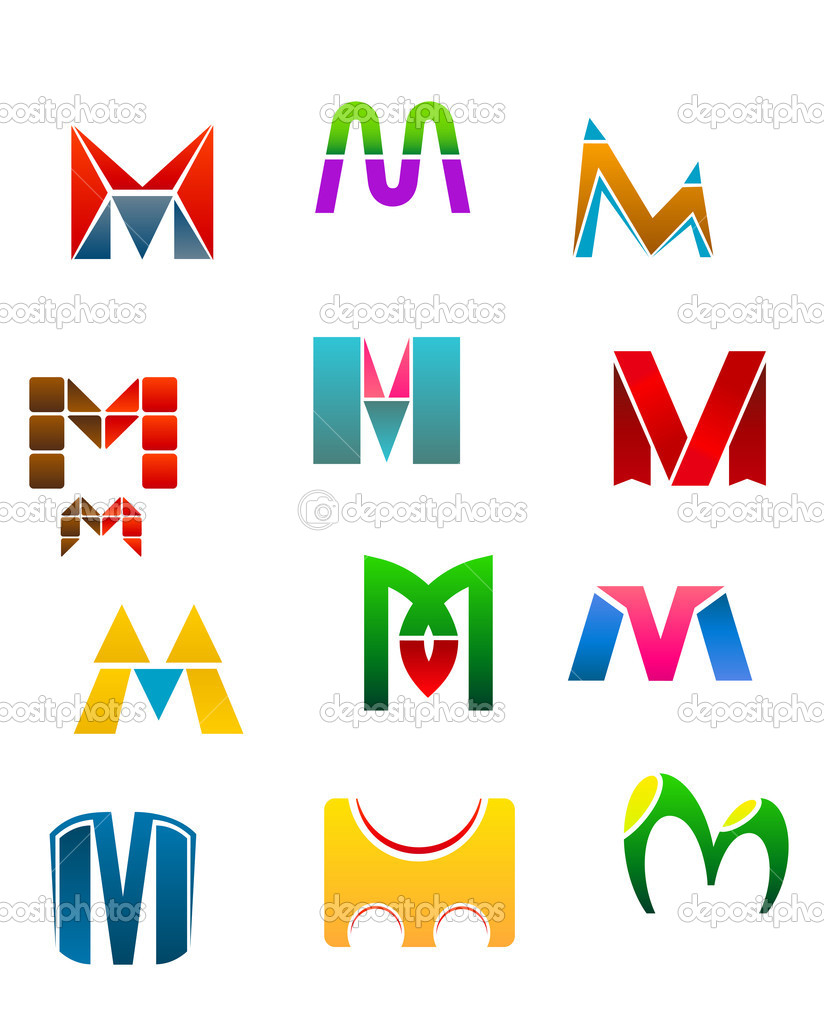 Set of alphabet symbols of letter M — Stock Vector #6740060