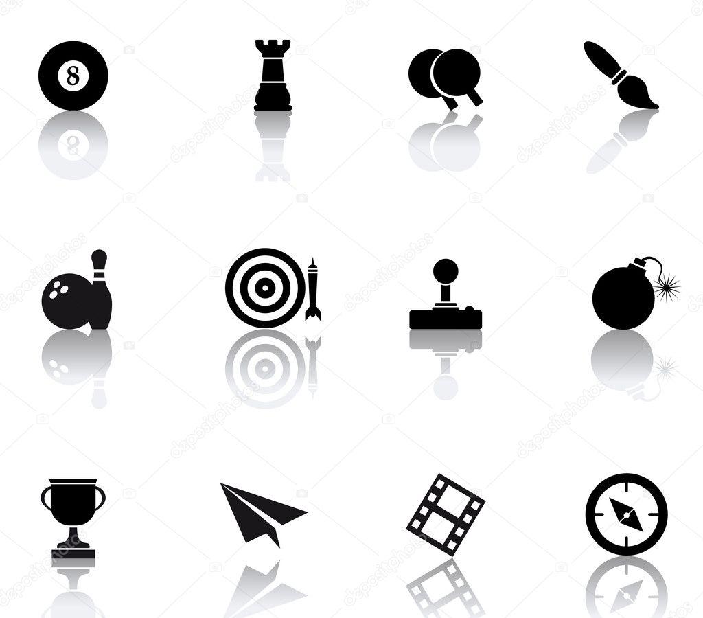 Set icons featuring the principal international entertainment symbols — Stock Vector #5577907