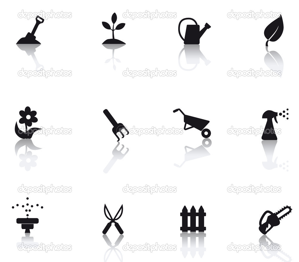 Set icons featuring the principal international gardening symbols — Stock Vector #5577913