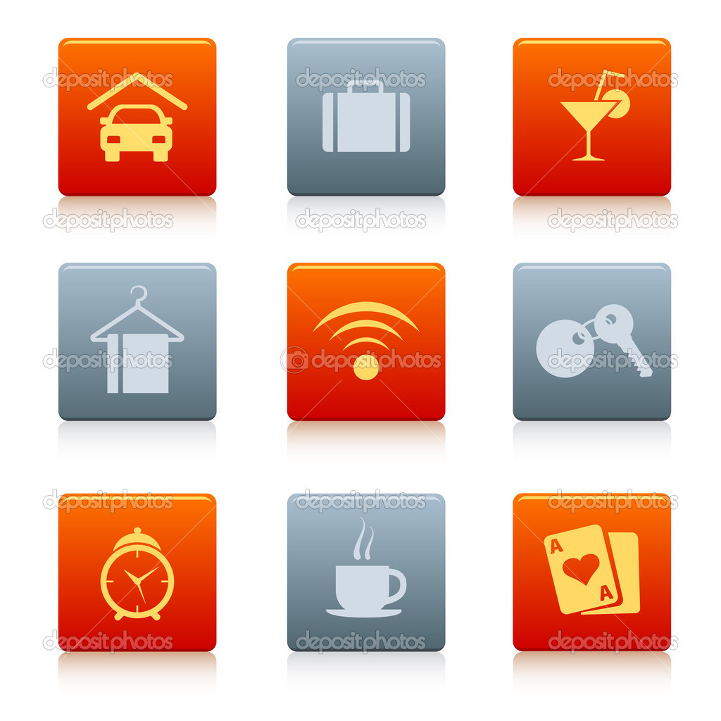 Coloured square hotel icons in some colours, with shadow — Stock Vector #5657911