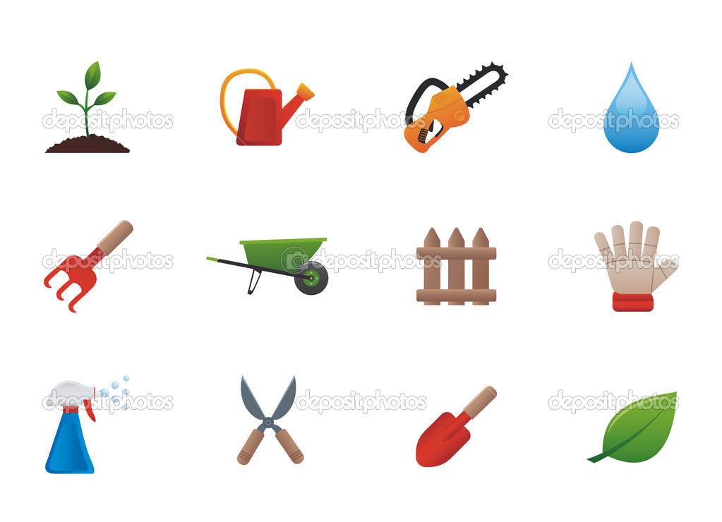 Set icons featuring the principal international gardening symbols — Stock Vector #5657935