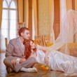 Bride and groom in the palace — Stock Photo #5786607